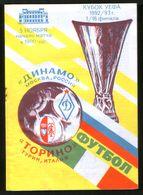 Official Football Programme Dinamo (Moscow, Russia) - Torino (Turin, Italy) 1992 (calcio, Soccer) - Programs
