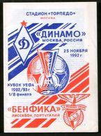 Official Football Programme Dinamo (Moscow, Russia) - Benfica (Lisbon, Portugal) 1992 (calcio, Soccer) - Programs
