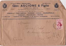 GIOV ASCIONE & FIGLIO. TORRE DEL GRECO. ENVELOPPE GRAND FORMAT CIRCULEE. 1935 A PARIS - BLEUP - FDC