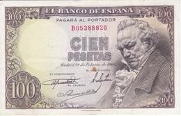 BILLETE DE ESPAÑA DE 100 PTAS 19/02/1946 SERIE B (BANK NOTE) GOYA - [ 3] 1936-1975 : Régence De Franco
