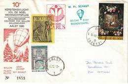 Courrier Par Ballon (montgolfière). 1980. Aalst => Lebbeke. Pilote: François Schaut. Vol De Noël. Icarus. - Aéreo