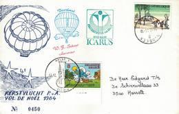 Courrier Par Ballon (montgolfière). 1984. Aalst => Humbeek. Pilote: Fr. Schaut. Vol De Noël. Icarus. - Aéreo