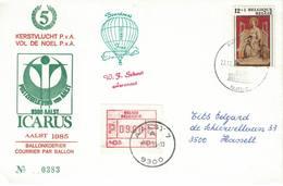 Courrier Par Ballon (montgolfière). 1985. Aalst => Sint-Niklaas. Pilote: Fr. Schaut. Vol De Noël. Icarus. - Aéreo