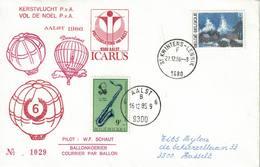 Courrier Par Ballon (montgolfière). 1986. Aalst => Sint-Kwintens-Lennik Pilote: Fr. Schaut. Vol De Noël. Icarus. - Aéreo