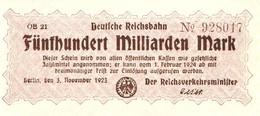 Notgeld Deutsche Reichsbahn 500  Milliarden Mark Berlin - [ 3] 1918-1933 : Repubblica  Di Weimar