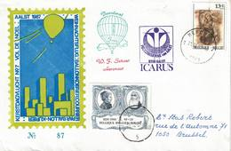 Courrier Par Ballon (montgolfière). 1987. Aalst => Merchtem. Pilote: Fr. Schaut. Vol De Noël. Icarus. - Aéreo
