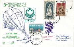 Courrier Par Ballon (montgolfière). 1988. Aalst => Beringen. Pilote: Fr. Schaut. Vol De Noël. Icarus. - Aéreo