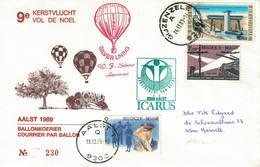 Courrier Par Ballon (montgolfière). 1988. Aalst => Gijzenzele. Pilote: Fr. Schaut. Vol De Noël. Icarus. - Aéreo
