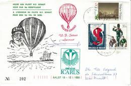 Courrier Par Ballon (montgolfière). 1990. Aalst => Zwalm. Pilote: Fr. Schaut. Vol De Noël. Icarus. - Aéreo