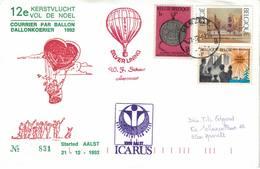 Courrier Par Ballon (montgolfière). 1992. Aalst => Herzele. Pilote: Fr. Schaut. Vol De Noël. Icarus. - Aéreo