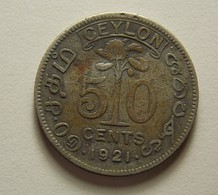 Ceylon 50 Cents 1921 Silver - Sri Lanka