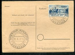 """Franzoesische Zone-Baden / 1949 / Mi. 46 A. Postkarte So-Stempel Konstanz """"Ingenieur-Kongress Vom 25.6.49 (10394) - Zona Francesa"""