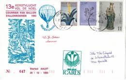 Courrier Par Ballon (montgolfière). 1993. Aalst => Oordegem. Pilote: Fr. Schaut. Vol De Noël. Icarus. - Aéreo