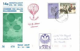 Courrier Par Ballon (montgolfière). 1994. Aalst => Merchtem. Pilote: Fr. Schaut. Vol De Noël. Icarus. - Aéreo