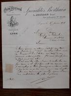 L15/57 Lettre Ancienne. Lyon. Creme Berthuin. L.Jourdain 1906 - France