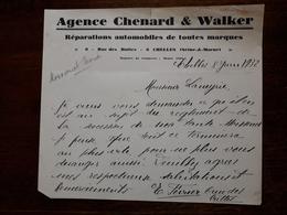 L15/58 Lettre Ancienne Chelles. Agence Chenard Et Walker . Réparations Automobiles De Toutes Marques. 1932 - 1900 – 1949