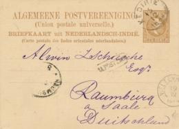 Nederlands Indië - 1884 - 7,5 Cent Willem III, Briefkaart G5 Van Rondstempel KEDIRIE - Na Posttijd - Naar Raumburg / Dld - Nederlands-Indië