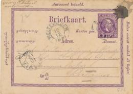 Nederlands Indië - 1881 - 5 Cent Willem III, VraagBriefkaart G2aV Van Kleinrond SERANG Naar Batavia - Nederlands-Indië