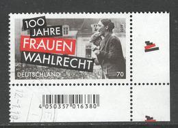 Duitsland, Mi Jaar 2019 Frauenwahlrecht, Hoekblok, Gestempeld - Oblitérés