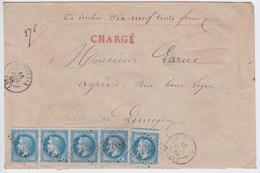 N°29B Bande De 4 Positions 51 52 53 54A3 TB Et 1 Ex Défectueux, Sur Enveloppe Chargée, 5 Cachets De Cire Au Verso, TB - 1863-1870 Napoléon III Lauré