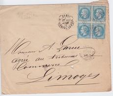 N°29B Bloc De 4 Sur Lettre, Positions 115 116 125 126A2, Plusieurs Variétés, TB - 1863-1870 Napoléon III Lauré