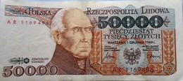 POLOGNE Poland, 50000 (50,000) Zlotych, 1989, - Pologne