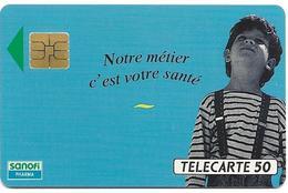 Telecarte 50 - Sanofi - Le Soleil Brille , L'imprudence Brûle - Publicité