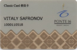 Carte De Membre Casino : Ponte 16 Macau Macao - Cartes De Casino