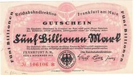 Notgeld Deutsche Reichsbahn 5 Billionen Mark Frankfurt/Main - [ 3] 1918-1933 : République De Weimar