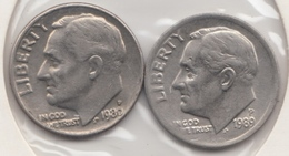 @Y@   United States Of America  One Dime  1980  +  1989    (3038 ) - Émissions Fédérales