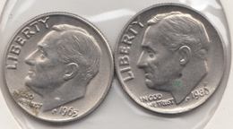 @Y@   United States Of America  One Dime  1965 + 1980    (3039 ) - Émissions Fédérales