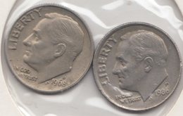 @Y@   United States Of America  One Dime  1968 + 1986    (3040 ) - Émissions Fédérales