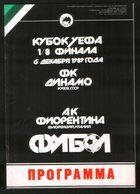Official Football Programme Dynamo (Kiev, Ukraine) - ACF Fiorentina (Florence, Italy) 1989 (calcio, Soccer) - Programs