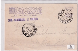 Storia Postale-Cartolina In Franchigia-del 7 E 8 12 1922-Due Timbri Oneglia E Pieve Di Teco--an2 - 1900-44 Vittorio Emanuele III