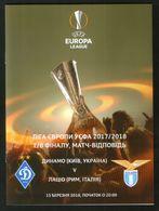 Official Football Programme Dynamo (Kiev, Ukraine) - Lazio (Rome, Italy) 2018 (calcio, Soccer) - Programs