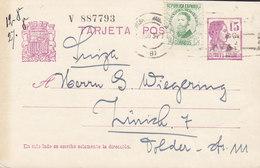 Spain Uprated Postal Stationery Ganzsache Entier Sinnbild Der Republik TMS Cds. 1934 To ZÜRICH Switzerland (2 Scans) - Ganzsachen