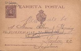 Spain Postal Stationery Ganzsache Entier 10 Cs Alphonse XIII. Violettbraun AGUILAS Murcia 1902 LONDON England (2 Scans) - Entiers Postaux