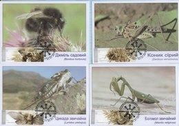 UKRAINE. Maxi Card. 7 Cards. FDC. Fauna. Insects . Hologram. KYIV. 2018 - Ukraine