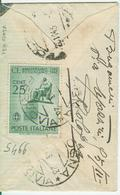 ANNIVERSARIO ROSSINIANO Cent.25-TARIFFA LETTERA RIDOTTA DISTRETTO-1943-TIMBRO POSTE BOLOGNA-PERIODO R.S.I. - - 1900-44 Vittorio Emanuele III