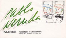 PABLO NERUDA, PREMIO NOVEL LITERATURA 1971-FDC 1991 CHILE, STAMP A PAIR - BLEUP - Premio Nobel