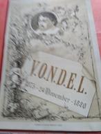 VONDEL Poreceleinkaart, MENU, MULDER, Open  36cm X 27cm Stoomdrukkerij Ellerman HARMS C1880 ..met Citaten Over Eten - Poésie