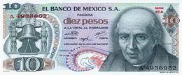 Mexico 10 Pesos 15-5-1975 Pick 63.h.5 UNC - Mexique