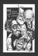 POLITIQUE DU QUÉBEC - RENÉ LÉVESQUE VOL AU DESSUS D'UNE ÉLECTION DE COUCOUS - CARICATURE 1976 - Personnages