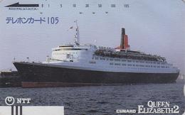 TC Ancienne Japon / NTT 250-043 - BATEAU QUEEN ELIZABETH - FERRY SHIP Japan Front Bar Phonecard - SCHIFF - 611 - Boats