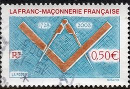 La Franc-Maçonnerie Française 1728-2003  Valeur Faciale 0,50 € Timbre Oblitéré. En France. - France
