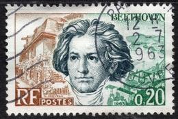 1963 Beethoven Faciale Valeur 0,20 Fr Timbre Oblitéré. Compositeur Et Pianiste Allemand - France