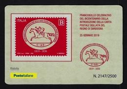"""2019 ITALIA """"BICENTENARIO CARTA POSTALE BOLLATA DEL REGNO DI SARDEGNA"""" TESSERA FILATELICA - 6. 1946-.. Repubblica"""