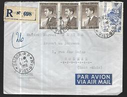 Vietnam Lettre Recommandée  Par Avion  De Saïgon Du 06 09 1956 Pour Colmar  68  Cachet Arrivée 10 09 1956 - Viêt-Nam
