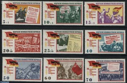 Germany, Ddr 1965 20 Years Liberation 9v, (Mint NH), History - Newspapers & Journalism - World War II - [6] Democratic Republic