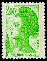 France Liberté De Gandon N° 2188 A ** Le 2.00 Fr Vert-jaune. Une Seule Bande De Phosphore (Variété) - 1977-81 Sabine De Gandon